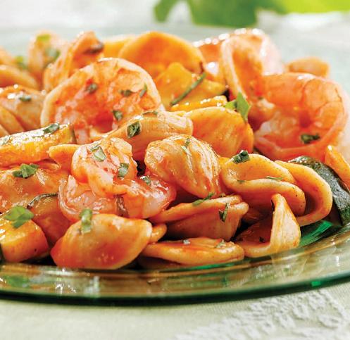 Basil, Shrimp & Zucchini Pasta